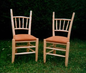 Pair of upholstered ash chairs