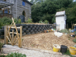 Garden gate (and retaining tyre wall)