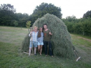 Clare, Sarah and Tim with Hay Stook