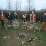 Chairmaking course participants with their chairs